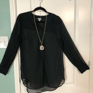 Merona | Hi-Lo Black Tunic | size Large | Like New